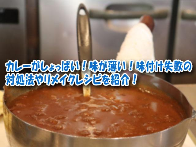 カレー しょっぱい 味が薄い ゆるい シャバシャバ ワイン入れすぎ リメイクレシピ